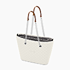 O bag urban black and white matelassé silver