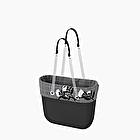 O bag black with prince of wale trim