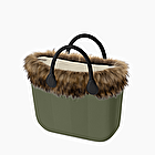 O bag mini military herringbone eco fur