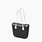 O bag black and white saffiano