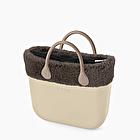 O bag mini sand with eco fur trim
