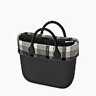 O bag mini black and white wool trim