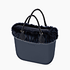 O bag mini blue navy eco fur