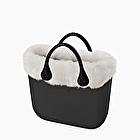 O bag mini black with eco fur trim