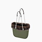 O bag military with eco fur trim