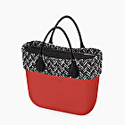 O bag mini rossa con bordo chevron