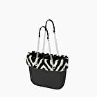 O bag nera con bordo in eco pelliccia