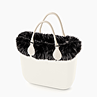 O bag mini white eco fur