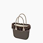 O bag volcano with eco fur soft lines trim