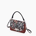O bag glam rouge rubis check floral bleu marine