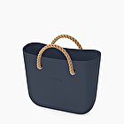 O bag mini blue navy con corda naturale