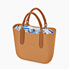 O bag mini crepe de chine azul y galleta