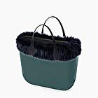 O bag mini cerceta borde de pelo sintético azul