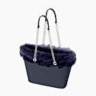 O bag urban navy blue eco fur trim
