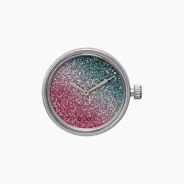 Meccanismo glitter bicolor amaranto e petrolio O clock